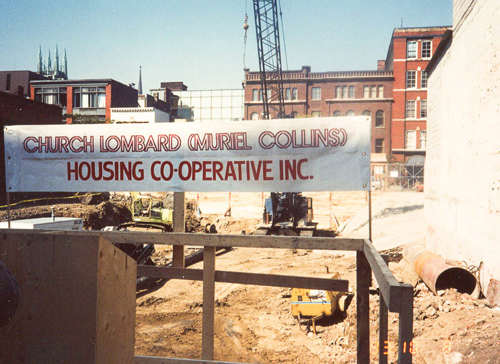 Sign and excavation for the co-op