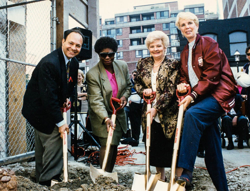 Ground breaking (l. to r.) MPP Rosario Marchesse, Muriel Collins, Barbara Mills, LCDF Representative